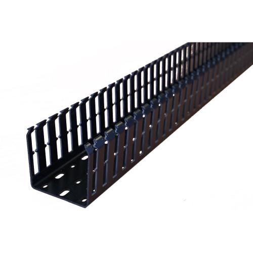 Betaduct 09190000Y Open Slot PVC Finger Trunking 75mm x 75mm Black 2m Cable Management