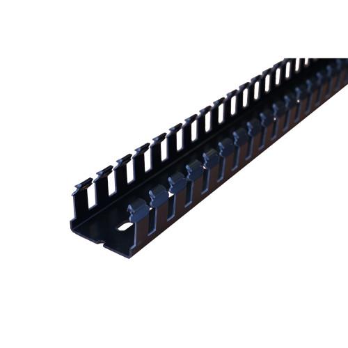 Betaduct 09890000Y Open Slot PVC Finger Trunking 50mm x 37.5mm Black 2m Cable Management