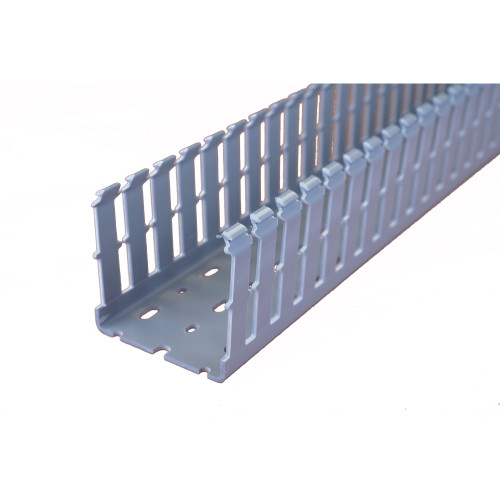 Betaduct 10450074Y Open Slot PVC Finger Trunking 75mm x 75mm Black 2m Cable Management