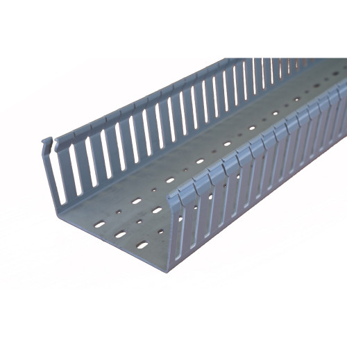 Betaduct 10450124Y Open Slot PVC Finger Trunking 125mm x 75mm Grey 2m Cable Management