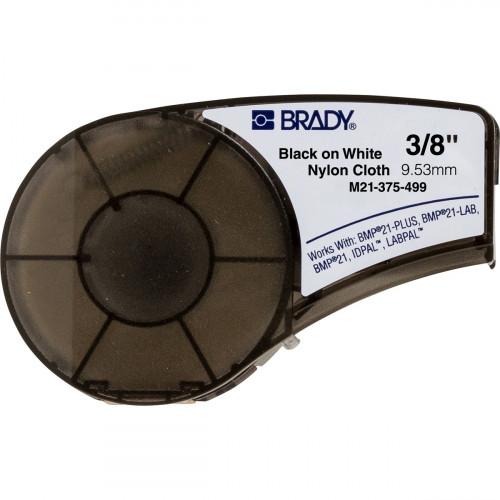 | Brady M21-375-499 Nylon Cloth tape for BMP21-PLUS; BMP21; IDPAL; LABPAL - B-499 - 9.53 mm x 4.88 m - Black on White