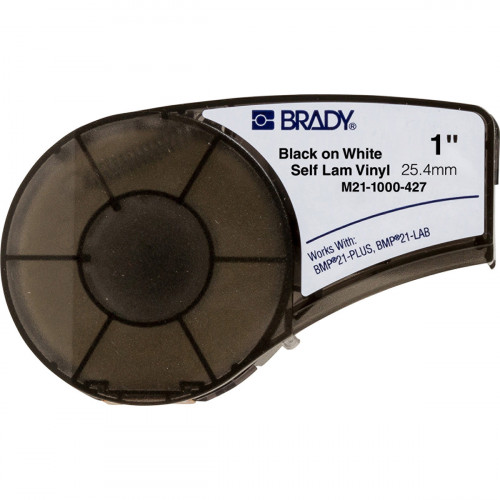 | Brady M21-1000-427 Self-laminating Vinyl tape, BMP21-PLUS/BMP21-LAB/IDPAL/LABPAL-B-427-25.40mm x 4.30m-Black on White