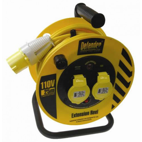 Defender E86455 Cable Reel 25mtr 110v 2 x 16A outlets (Each)
