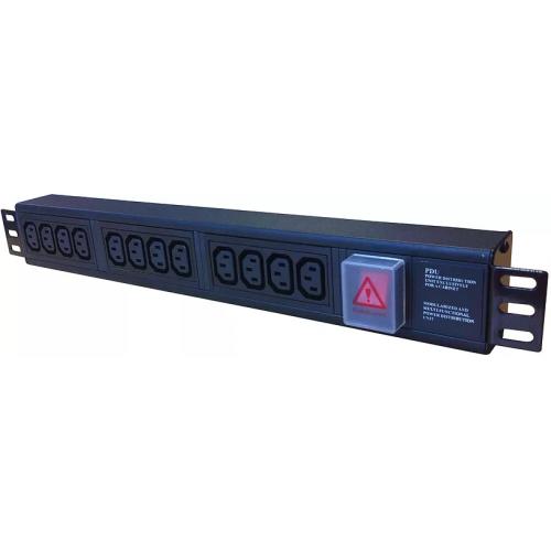 CMW Ltd Power Distribution Units | 12 Way Horizontal IEC-C13 PDU 1.5U  3m Switched- Black