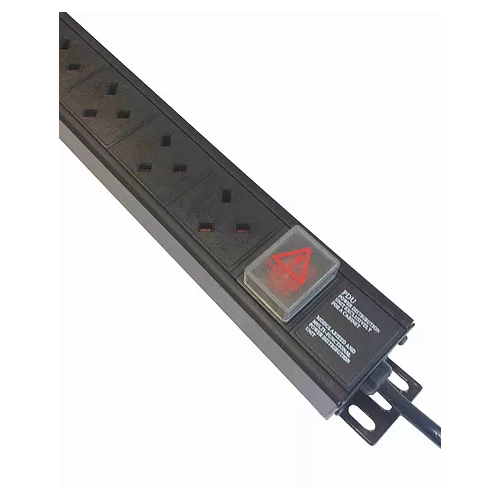 12 Way Vertical UK PDU 0U  3m Switched- Black (Each)