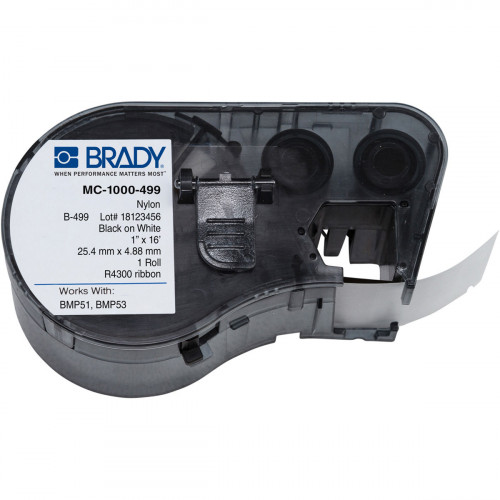 CMW Ltd cable labels | Brady MC-1000-499 BMP51/53 Labelmaker Labels - B-499 - 25.40 mm x 4.88 m - Black on White