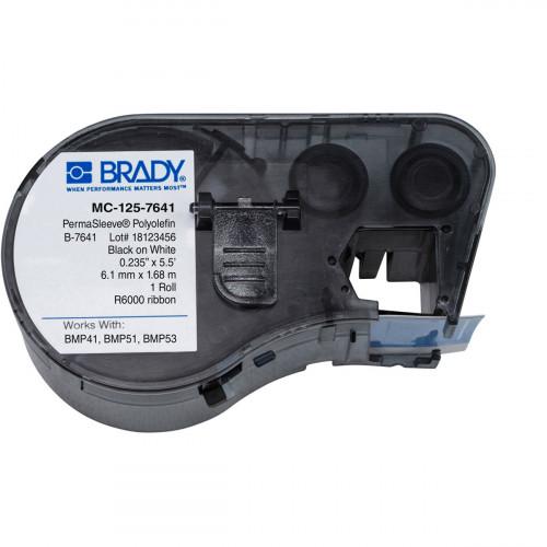   Brady MC-125-7641 BMP51/53 Low Smoke Halogen Free Permasleeve Wire Marking Sleeves- B-7641- 6.00mm x 2.13m-Black on White