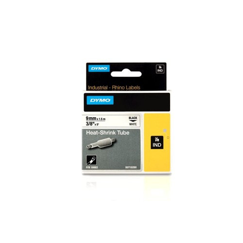DYMO RHINO 18055 12mm Black on White Labels for Heat Shrink Tubes (Each)