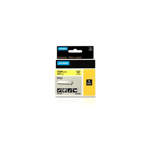 DYMO  | Dymo RHINO 18432 12mm x 5.5m Black on Yellow Vinyl Label Tape