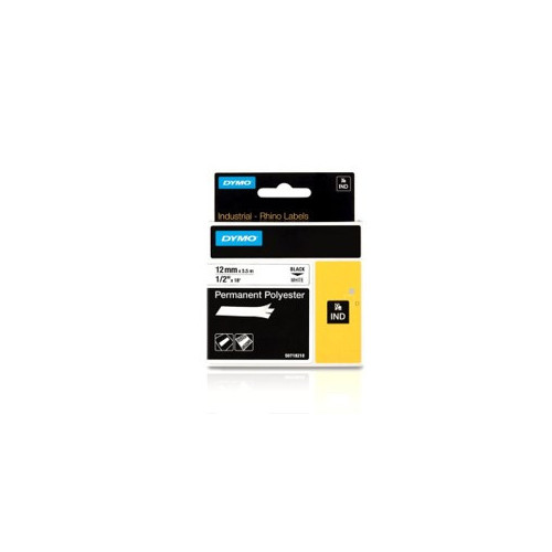 Dymo RHINO 18483 12mm x 5.5m Black on White Polyester Label Tape (Each)