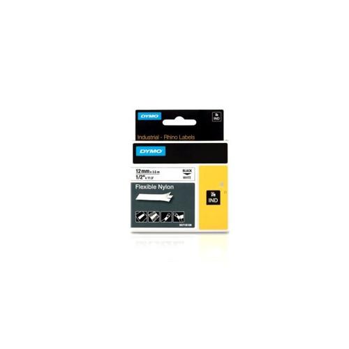 Dymo RHINO 18488 12mm x 5.5m Black on White Flexible Nylon Label Tape (Each)