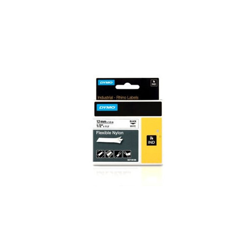DYMO  | Dymo RHINO 18489 19mm x 5.5m Black on White Flexible Nylon Label Tape