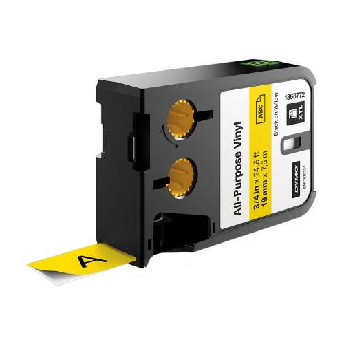CMW Ltd  | DYMO XTL 1868772 19mm All-Purpose Vinyl Black on Yellow Label Tape