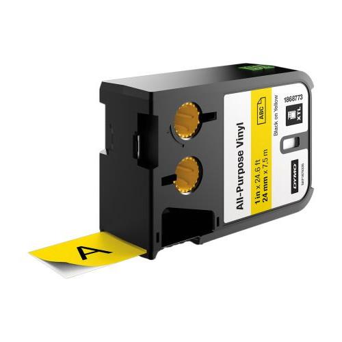 CMW Ltd  | DYMO XTL 1868773 24mm All-Purpose Vinyl Black on Yellow Label Tape