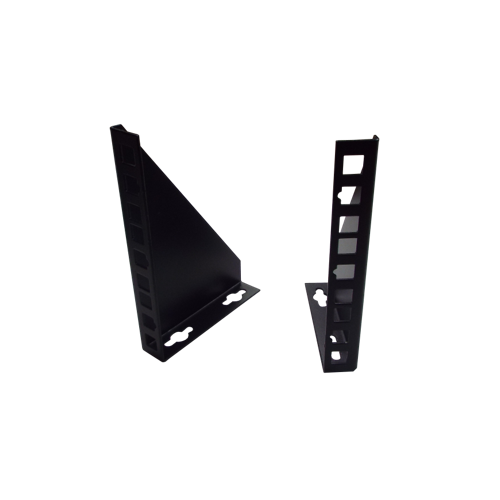 1U 10/19 inch Multipurpose Wall or Desk Vertical Horizontal Bracket- Pair - Black (Per pair)