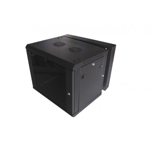 9U 550mm Deep 2 Section Matrix Swing Out Wall Mount Rack/Cabinet with Glass Door - Black (Each)