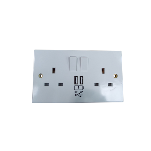13A 2G Switched Socket with Dual USB Charger 5V DC 3.1A - White (Each)