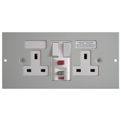 TASS ST0300/RCD | 3 Compartment Floor Box RCD Twin Switched Socket Outlet Light Grey 185mm x 76mm