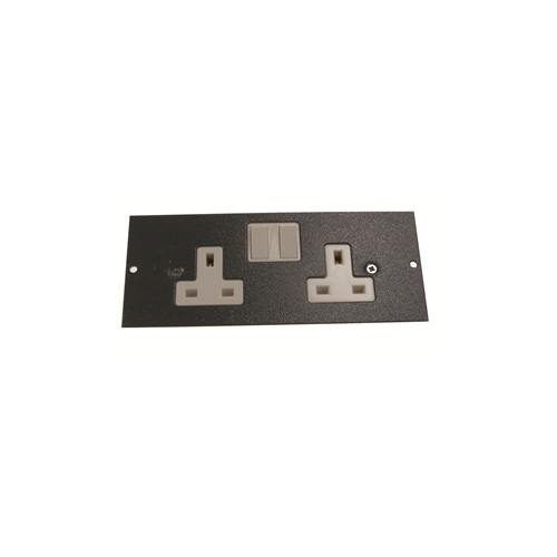 TASS ST0300 | 3 Compartment Floor Box Twin Switched Socket Outlet Light Grey 185mm x 76mm