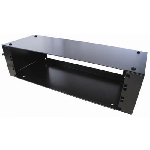Algar 0   3U Wall Mount Removable Lid Panel Enclosure 200mm Deep - Open Rear - Black