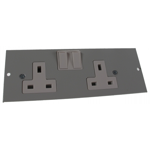 4 Compartment Twin Switched Socket Outlet L/H Galvanised Steel 185mm x 67mm  (Each)