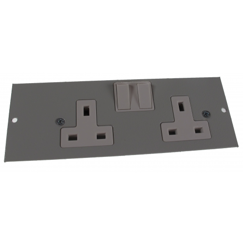4 Compartment Twin Switched Socket Outlet R/H Galvanised Steel 185mm x 67mm  (Each)