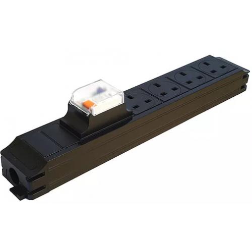 CMW Ltd  | CR Power Feed Unit 4-Way UK with 16A RCBO- Black