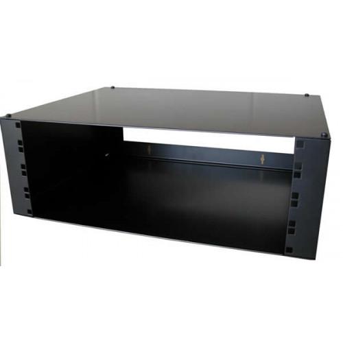 4U Hinged Wall Mount Removable Lid Panel Enclosure 400mm Deep - Black (Each)
