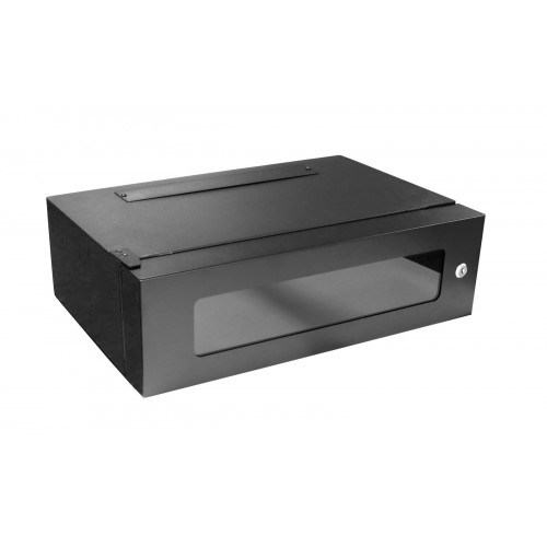 4U 360mm Deep Lockable 19 Inch Black Rack Wall Box with Glass Door (each)