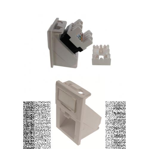 Matrix LJ6C Floorbox Keystone Adapter-angled entry - White (Each)