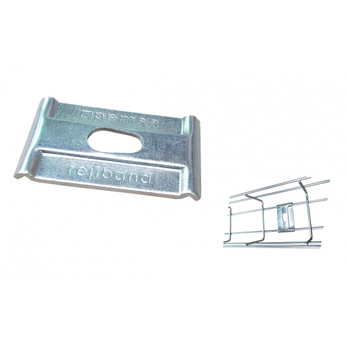 Pemsa 67010046 | Pemsa Rejiband Electrogalvanised Wire Basket Tray Silver Hold Down Plate 10mm Hole Size