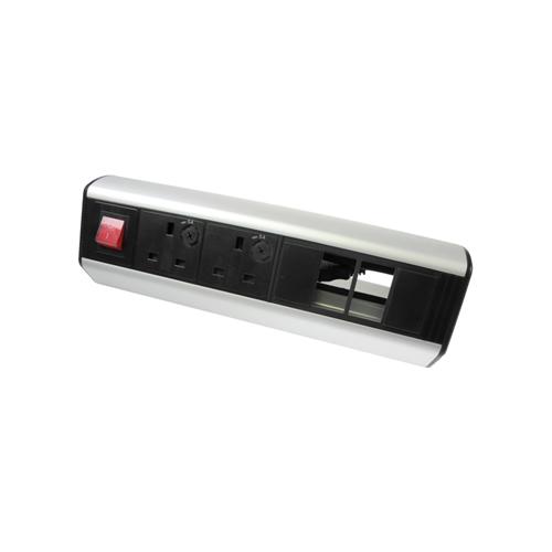 CMW Ltd    CR Desktop Unit  2 x UK Socket Power - 2 x LJ6C Data 1 x Master Switch Black/Silver