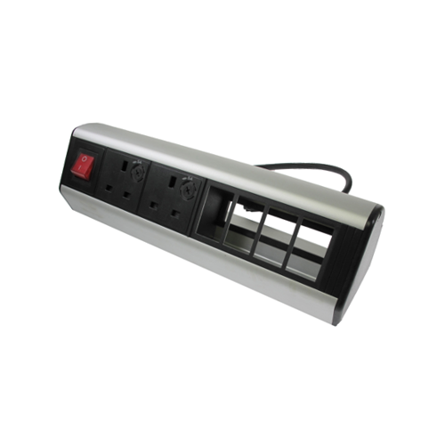 CMW Ltd    CR Desktop Unit  2 x UK Socket Power - 4 x LJ6C Data 1 x Master Switch Black/Silver