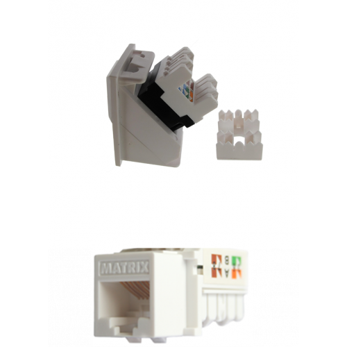Matrix White Cat6 RJ45 U/UTP LSA Keystone Module White (Each)