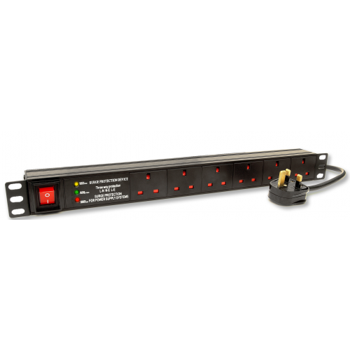 6 Way Horizontal Surge and Filtered UK PDU 1.5U  3m Switched- Black (Each)