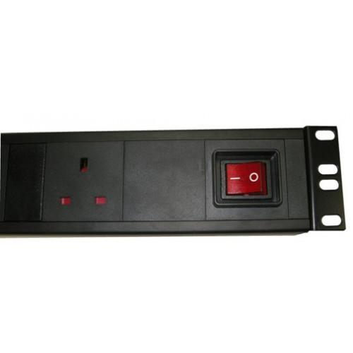 CMW Ltd Power Distribution Units | 6 Way Horizontal UK PDU 1.5U  3m Switched- Black