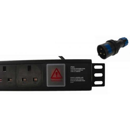 CMW Ltd  | 6 Way Horizontal UK PDU 1.5U  3m Switched with 32A Commando- Black