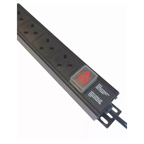 6 Way Vertical UK PDU 0U  3m Switched- Black  (Each)