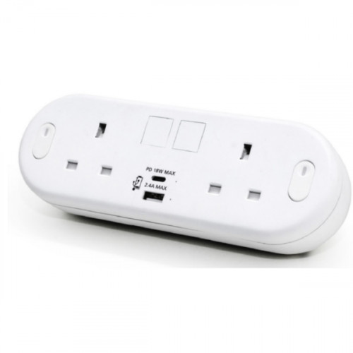 White Capsule with 2 Power plus USB Type A & C