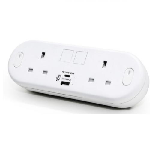 CMW Ltd    White Capsule with 2 Power plus USB Type A & C