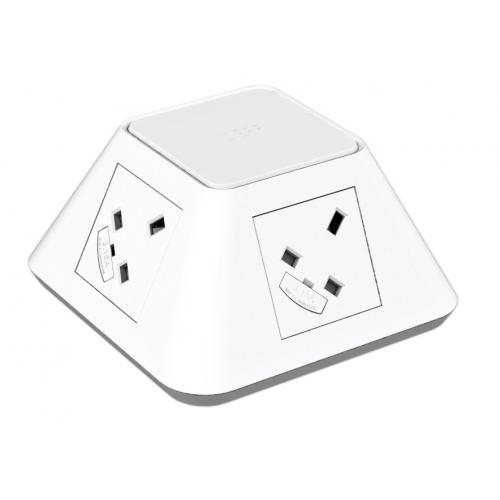 CMW Ltd  | CMD Inca On Desk Power Module  2 x UK Socket Power - White 2x USB Socket 2A Charger