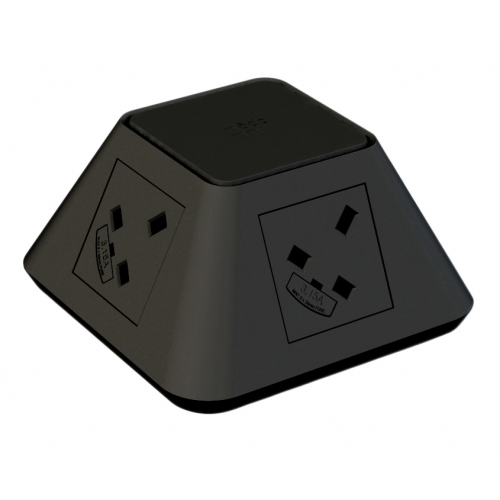 CMD Inca In Desk Power Grommet 2 x UK Socket Power - Black 2x USB Socket 2A Charger 80mm Cut Out (Each)