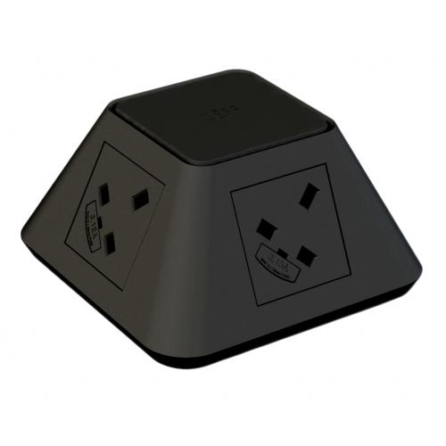 CMD Inca In Desk Power Grommet 2 x UK Socket Power - Black 2x USB Socket 2A Charger 80mm Cut Out (Each)