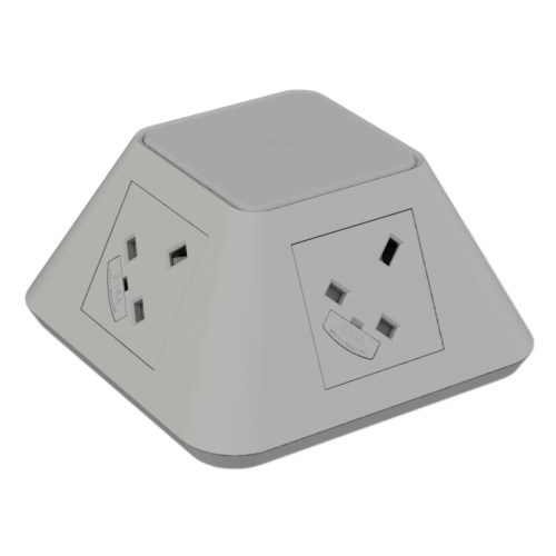 CMD Inca In Desk Power Grommet 2 x UK Socket Power - Grey 2x USB Socket 2A Charger 80mm Cut Out (Each)