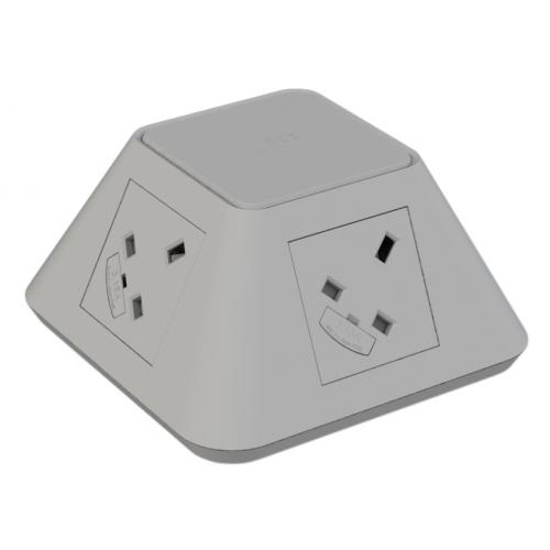 CMD Inca In Desk Power Grommet 2 x UK Socket Power - Grey 2x USB Socket 2A Charger 80mm Cut Out (Each)
