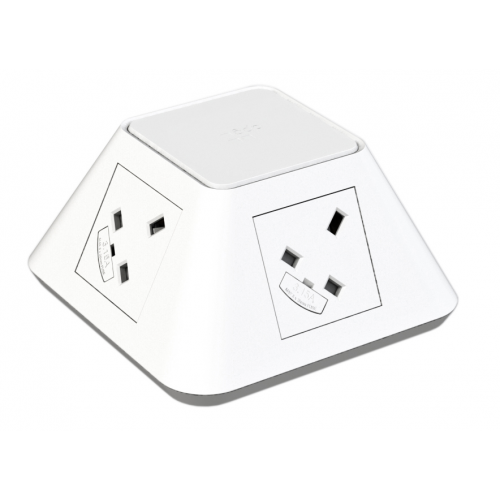 CMD Inca In Desk Power Grommet 2 x UK Socket Power - White 2x USB Socket 2A Charger 80mm Cut Out (Each)