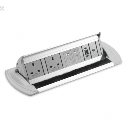 CMD Affinity In Desk Power Module 2 x UK Socket Power - 2 x Cat6 Data 287 x 132mm Aluminium (Each)