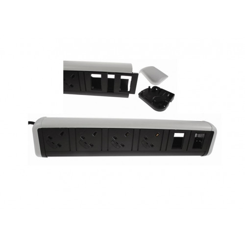 CMW Ltd Desk Cable Management | 4 Power 4 Data White / Black Desktop Unit