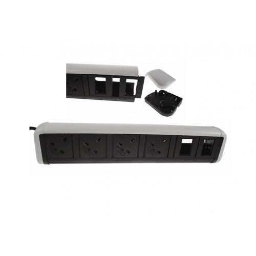 CMW Ltd Desk Cable Management   4 Power 4 Data White / Black Desktop Unit
