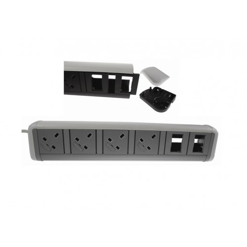 CMW Ltd Desk Cable Management | CMD Contour Desktop Unit 4 x 13A UK Power - 4 x Cat6 White/Grey